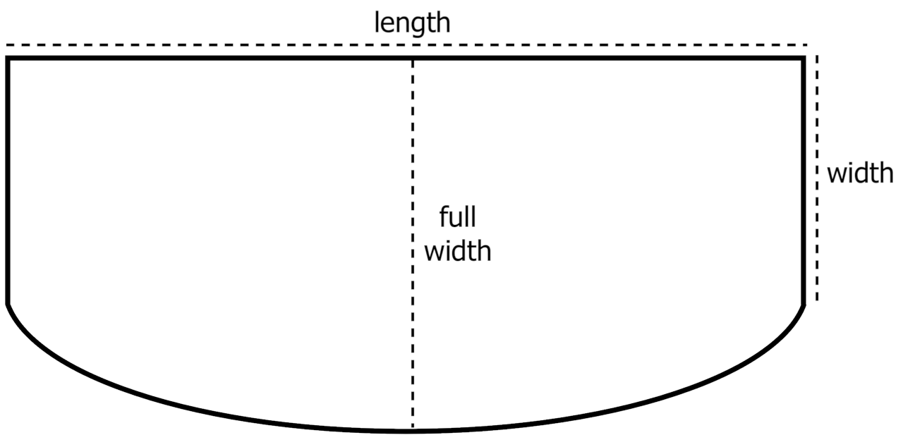 Diagram of a bow front aquarium showing the length, width, and full width dimensions