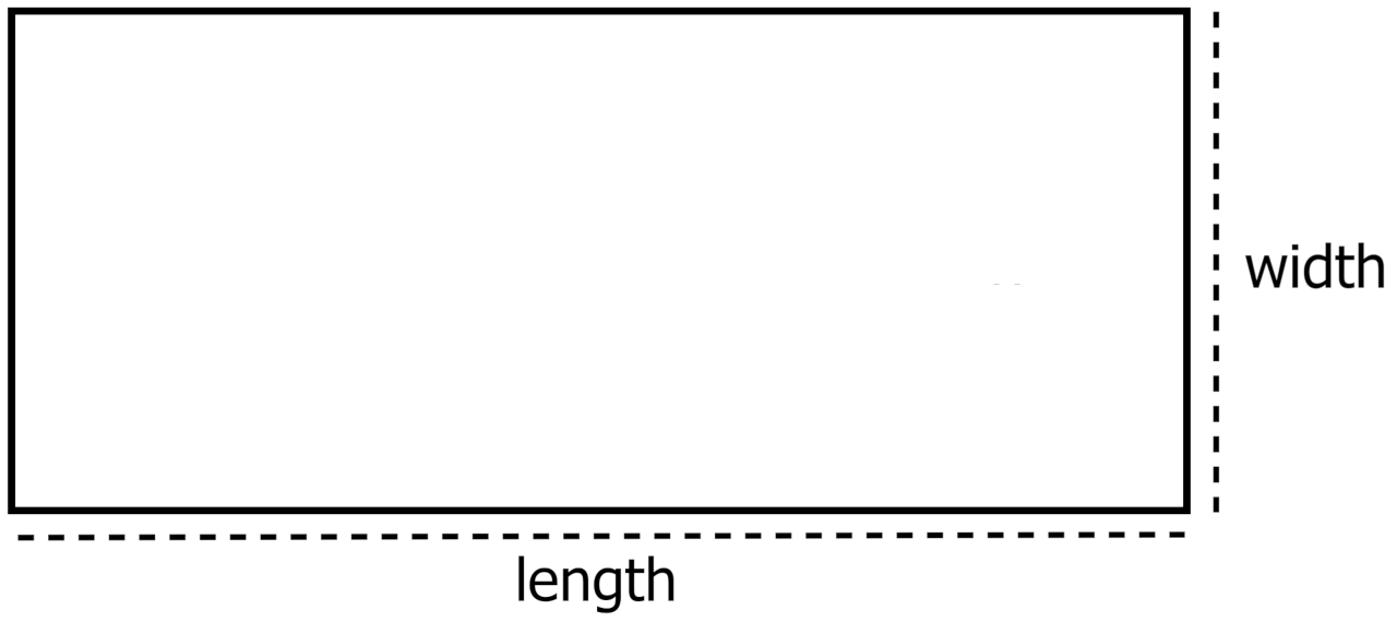 rectangular aquarium top view showing length and width dimensions