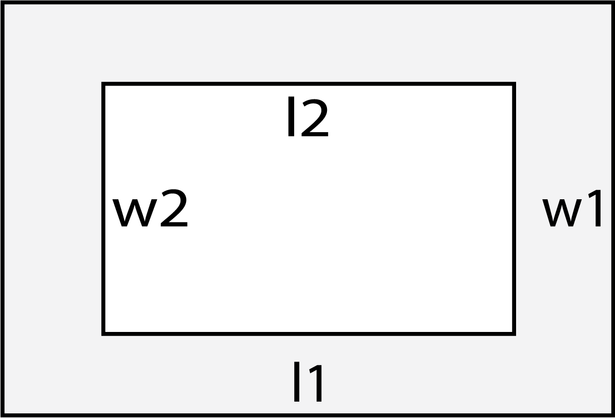 Area Calculator Find The Of 10 Geometric Shapes Block Diagram A Border Showing L1 Outer Length W1 Width L2