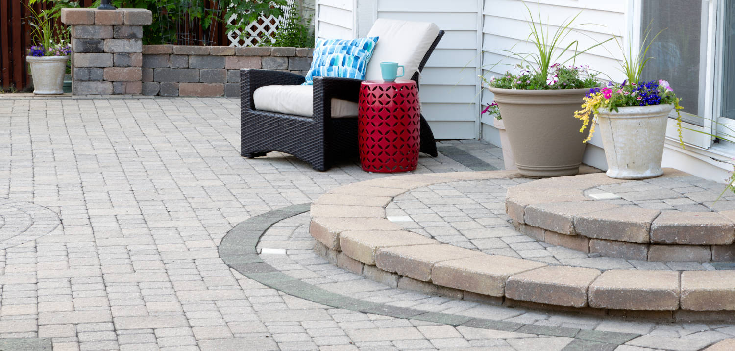 patio constructed from interlocking stone pavers