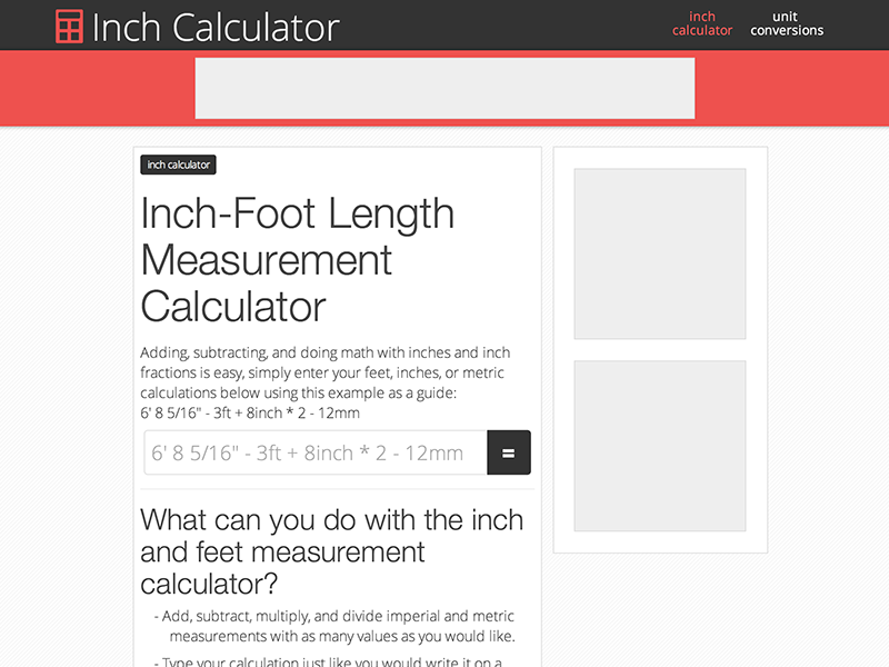 Length Unit Conversions Inch Calculator