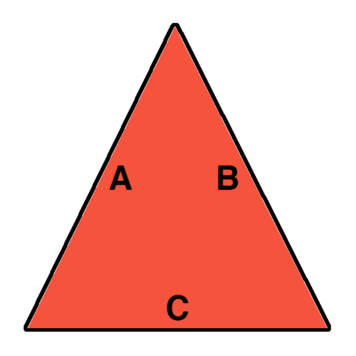 drawing showing the measurements of a triangle needed to find square footage