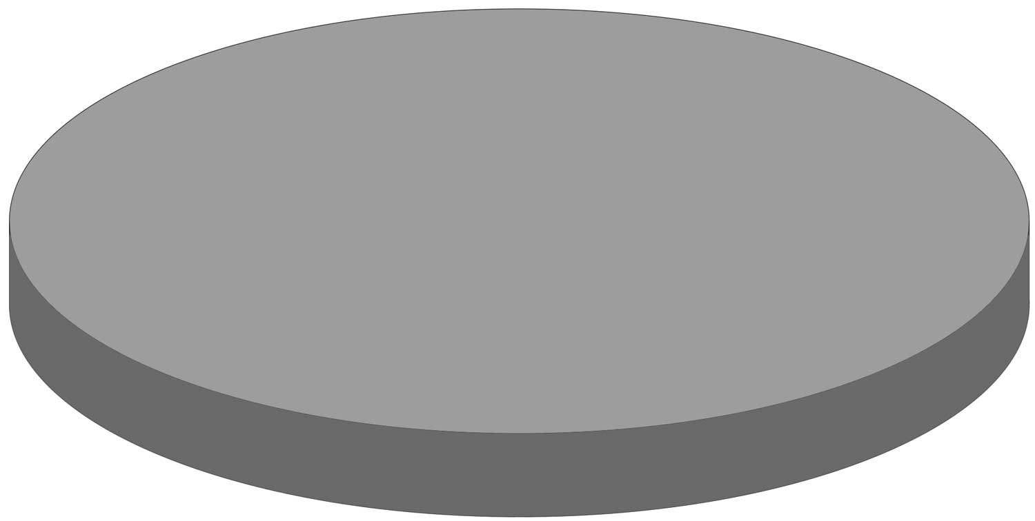 Illustration of a circular concrete slab showing the volume