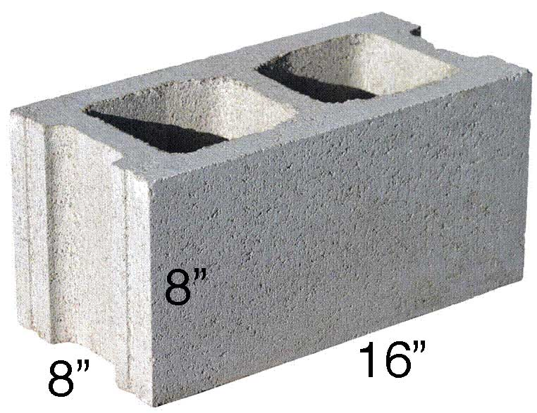 "The standard cinder block is 16"" wide by 8"" high"