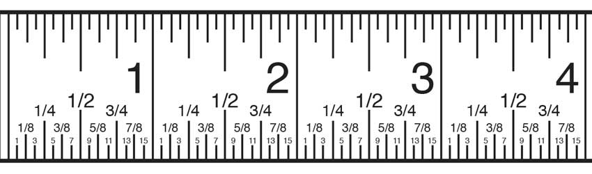 ruler with inch markings and labels showing the value of each inch fraction mark