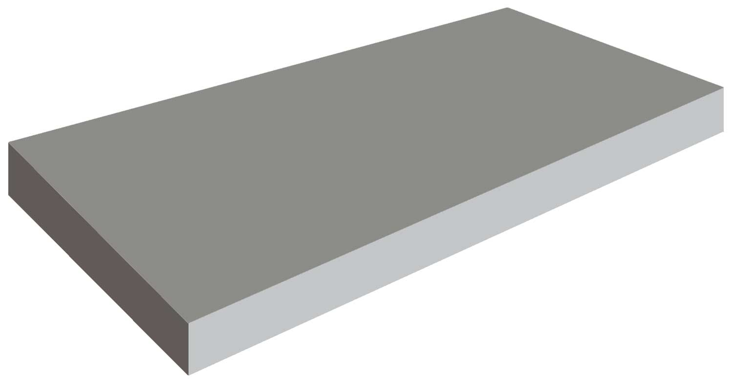 Illustration of a rectangular concrete slab showing the volume