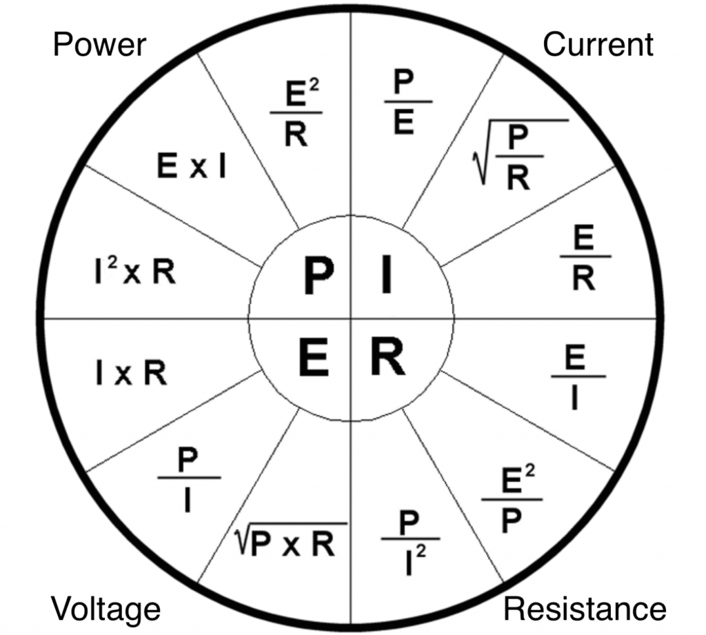 Find volts, watts, amps, and ohms using the Ohm's Law and Watt's Law formulas on this chart