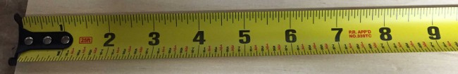 "The DeWalt DWHT33373 tape measure has a 1 1/8"" wide blade with a 10' standout"