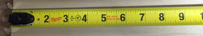 "The Milwaukee Magnetic tape measure has a 1 1/16"" wide blade with a 9' standout"