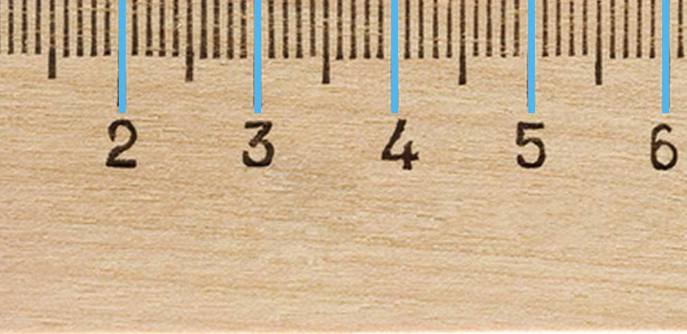 The larger ticks on a metric ruler represent centimeters