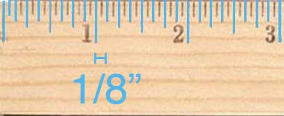 The smaller ticks are for an eighth of an inch. On some rulers the eighth-inch ticks are the smallest ticks.