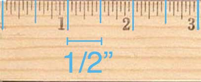 The large ticks on a ruler between the inch markings represent a half inch.