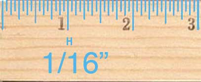 The smallest ticks on a ruler are the sixteenth-inch ticks