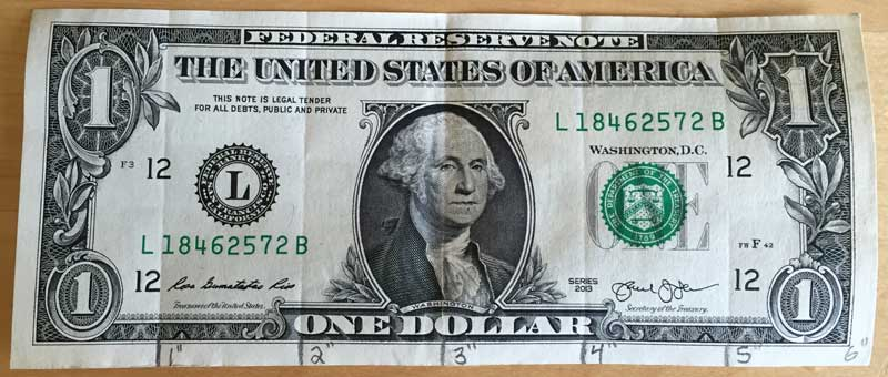 Create A Ruler From A Dollar Bill Inch Calculator