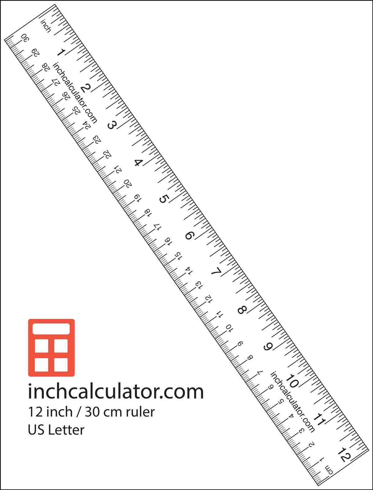 Printable rulers free downloadable 12 rulers inch calculator print a paper ruler to take measurements when you dont have a tape measure robcynllc Choice Image