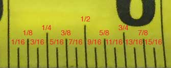 Inch fraction markings on a tape measure
