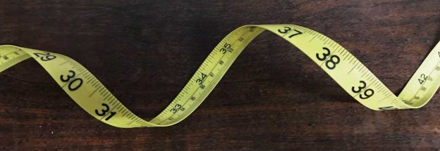 flexible tape measure with inches and inch fractions