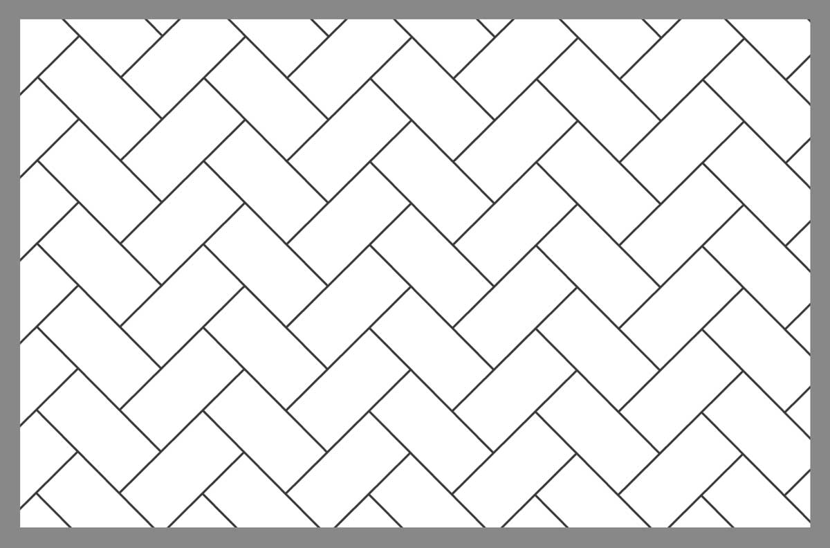 Tile layout using the 45° herringbone pattern