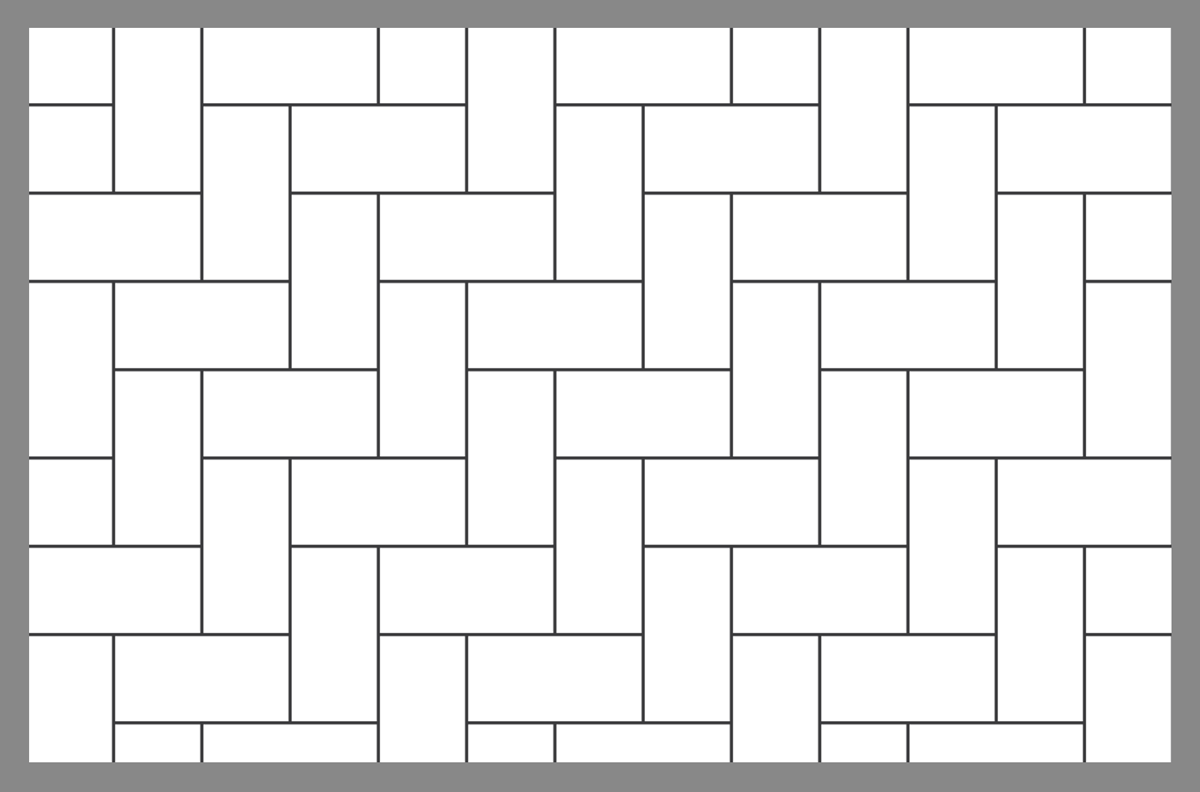 Tile and paver layout patterns inch calculator for Wood floor 90 degree turn