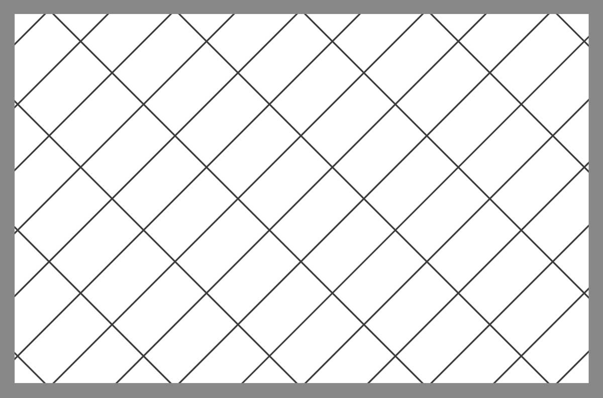 Tile layout using the rectangular angled grid pattern