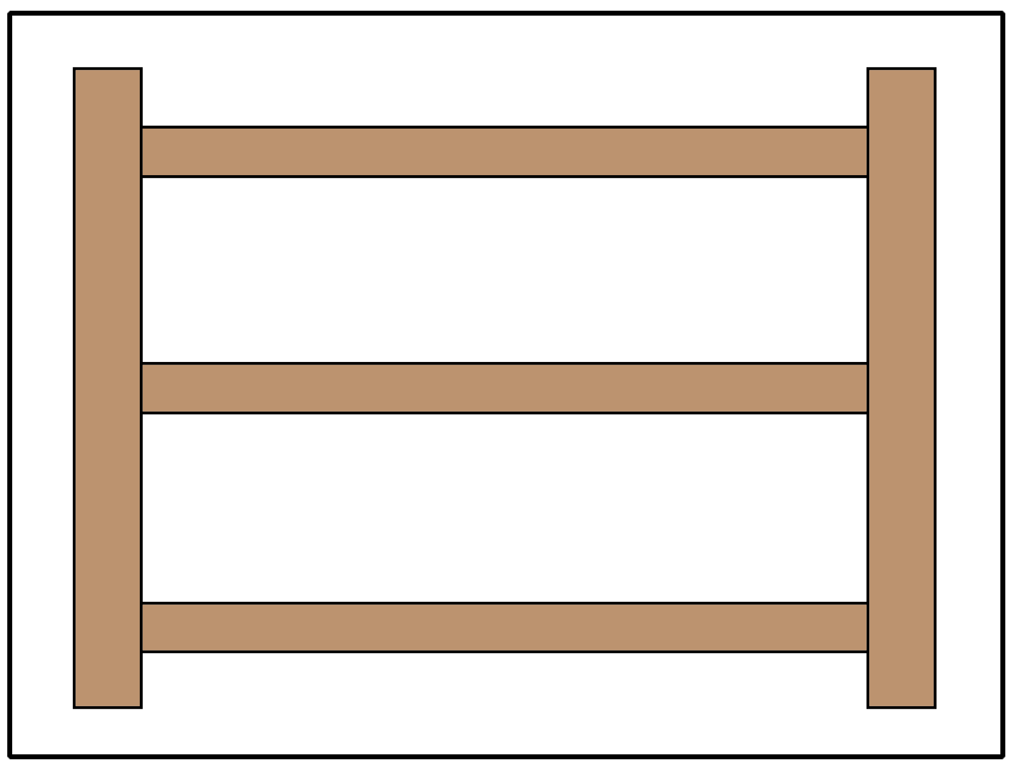 Split rail or estate fence using 3 rails