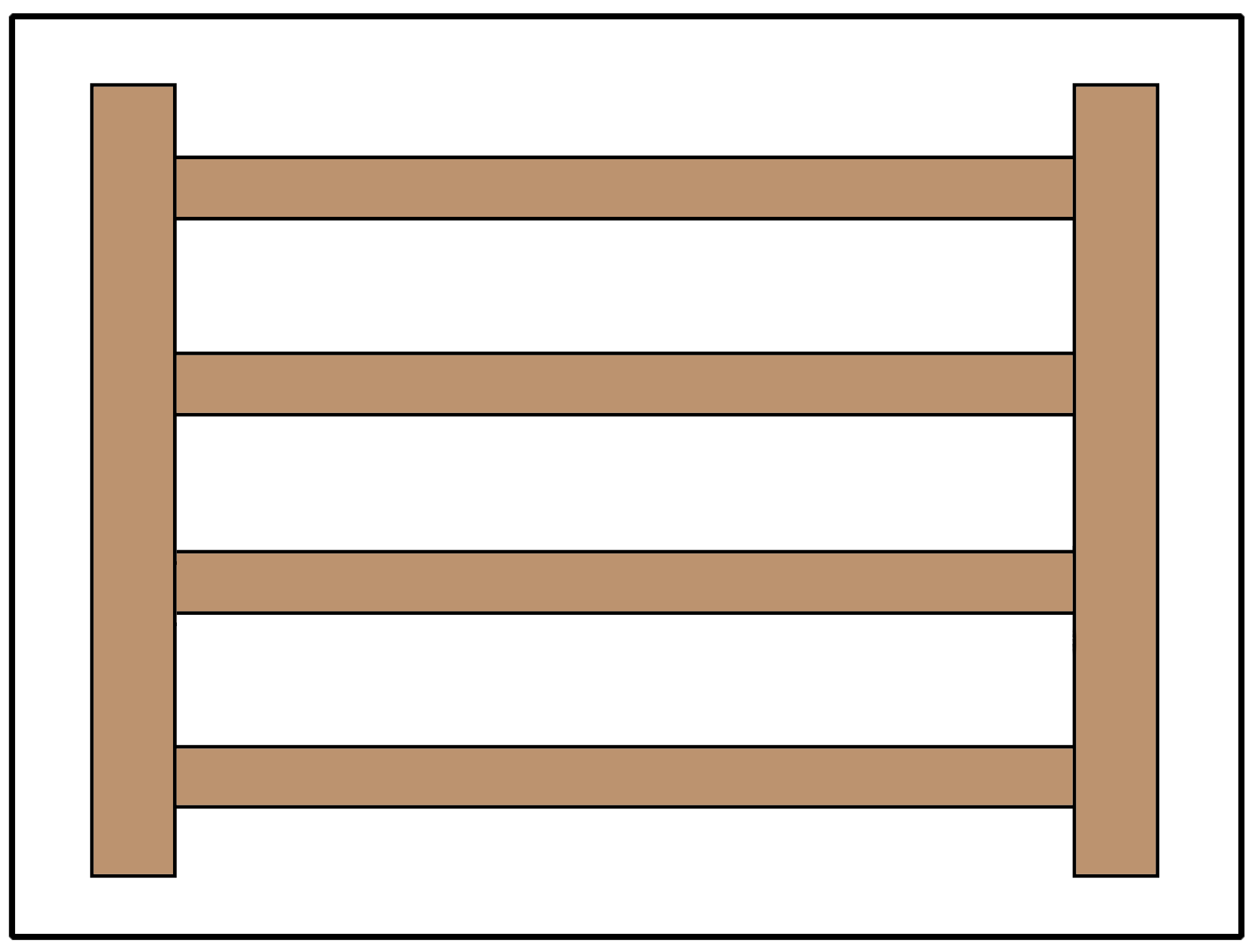 Split rail or estate fence using 4 rails