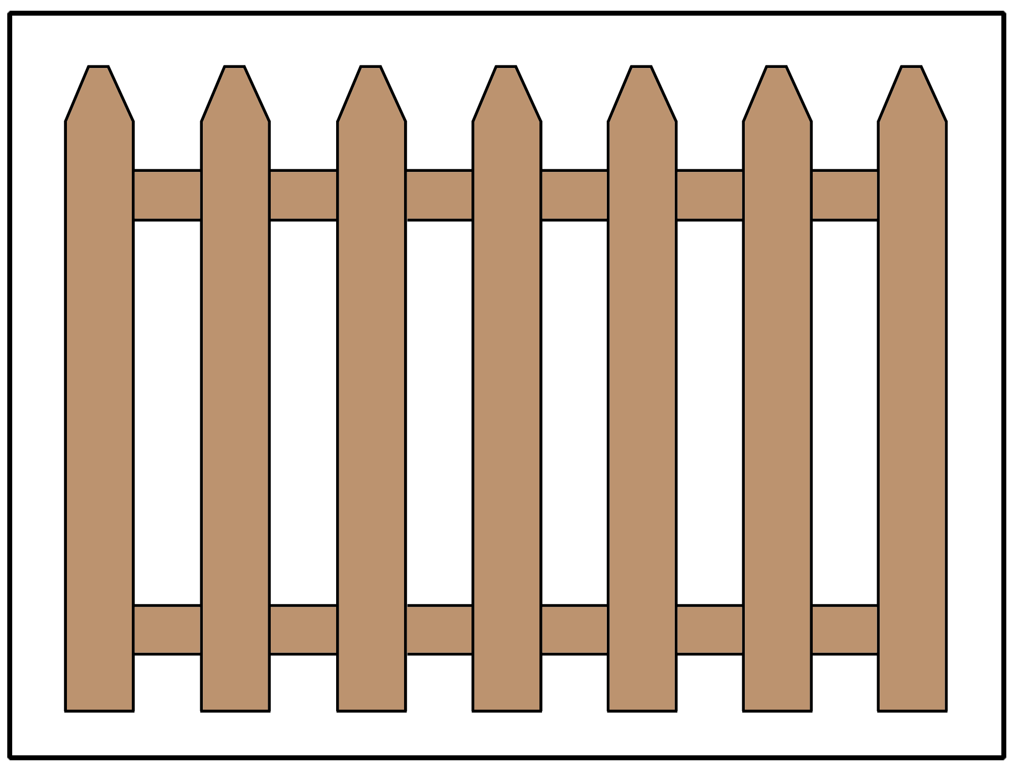 Picket fence design using angled pickets