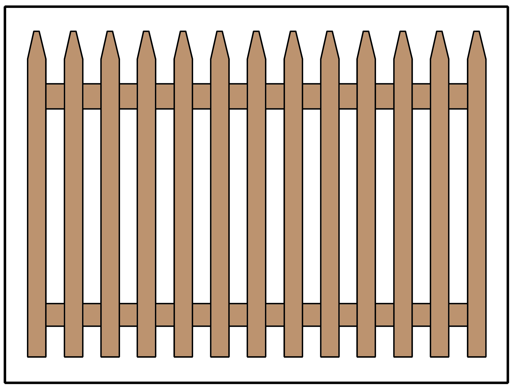 Picket fence design using common pickets