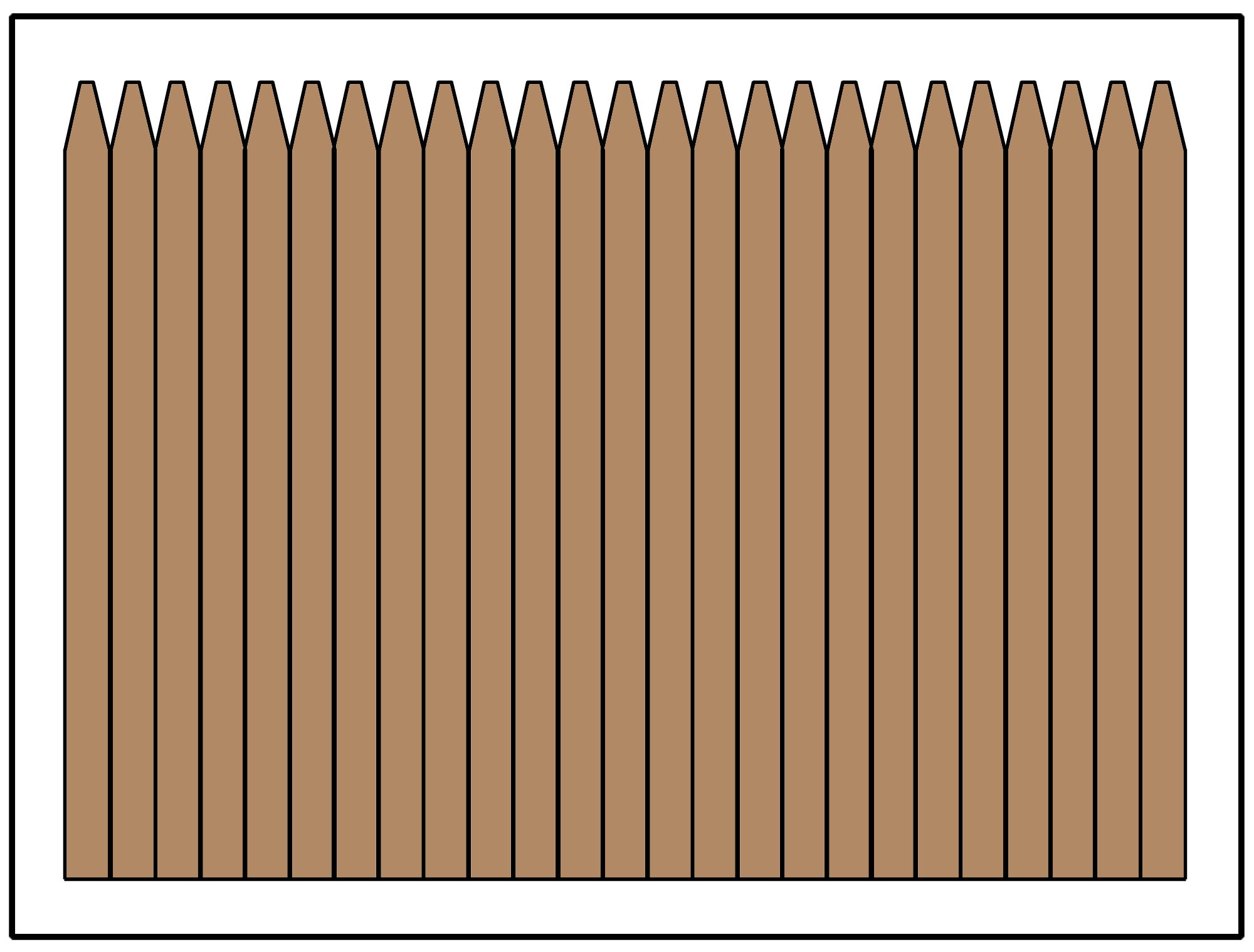 Privacy fence using a thin picket, also referred to as a stockade style fence