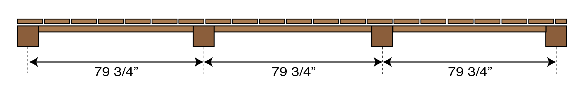 drawing showing the distance between fence posts