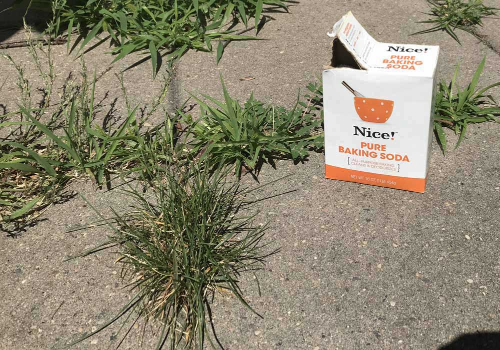 Baking soda is a natural weed killer and can be used to remove weeds from a patio