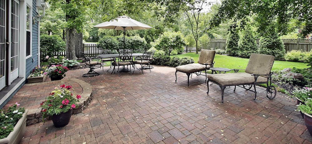 Newly installed paver patio