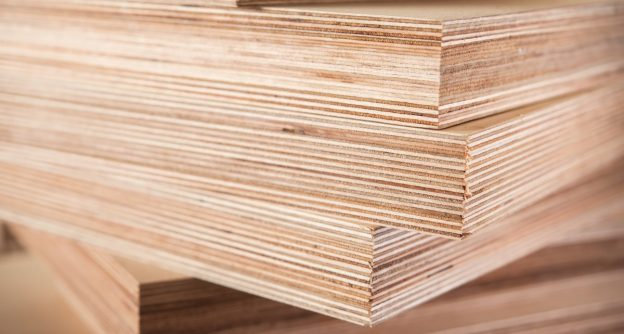 "Sheets of 3/4"" plywood stacked"