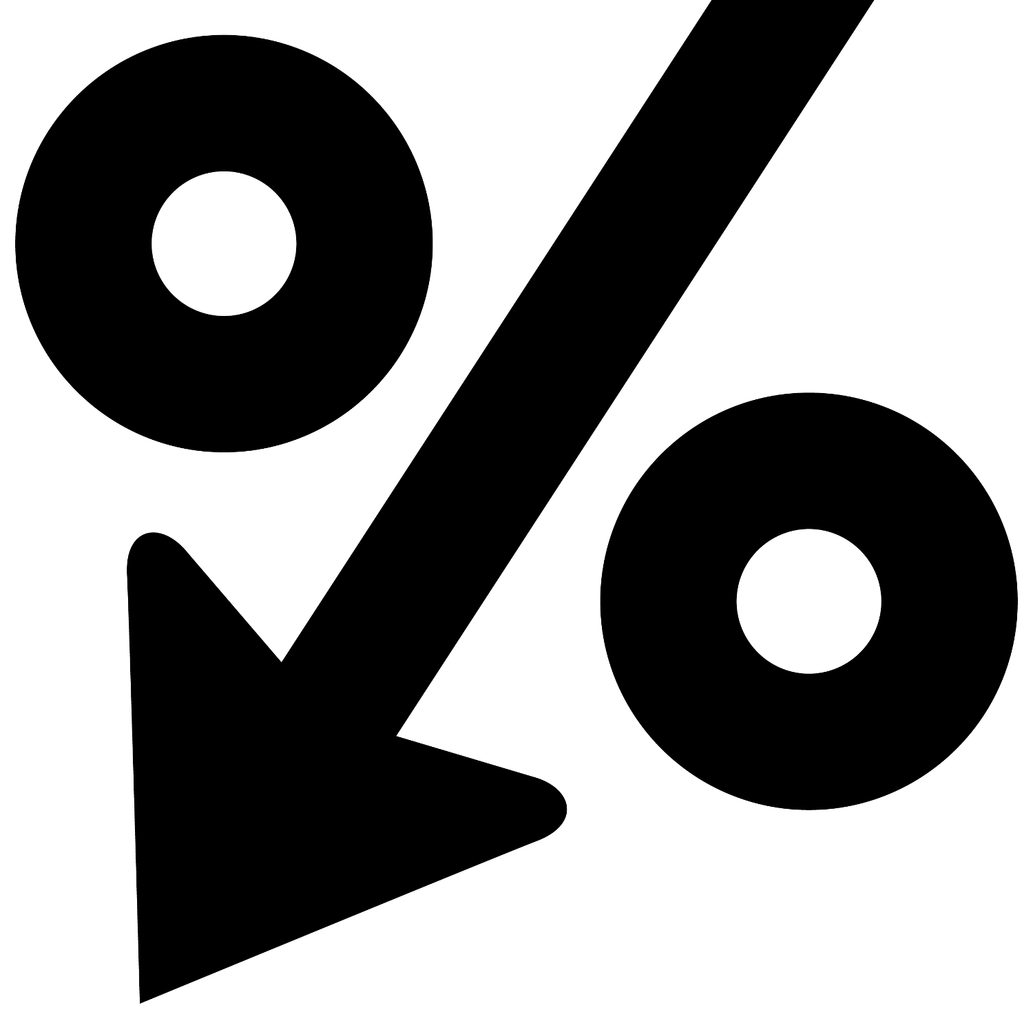 icon with percent symbol and down arrow to symbolize percent decrease