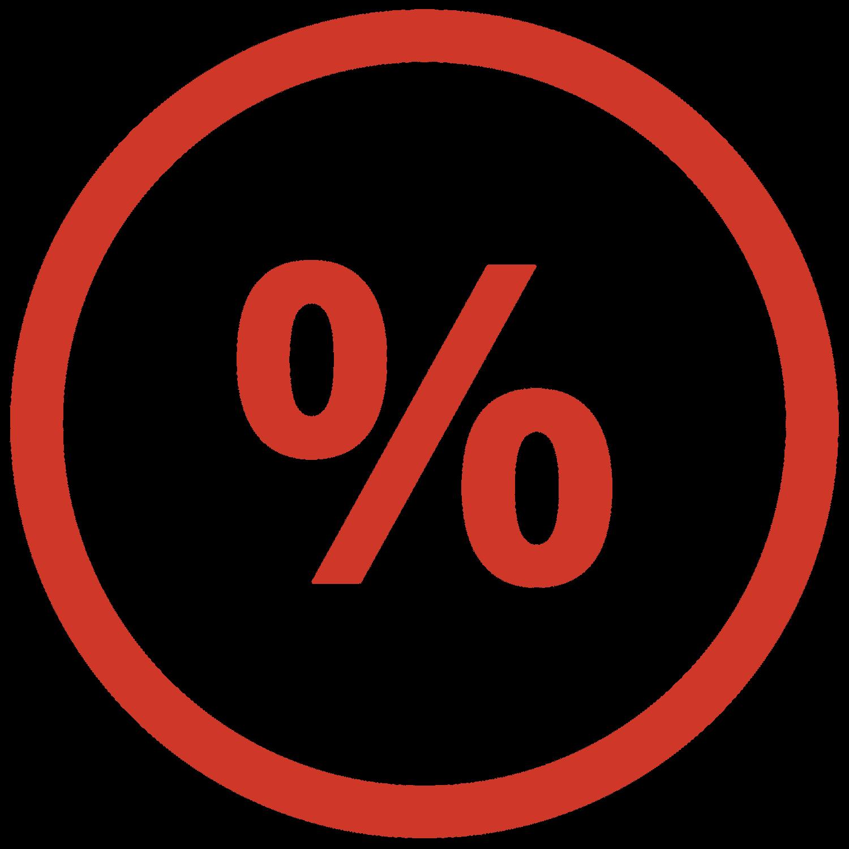 Red percent symbol