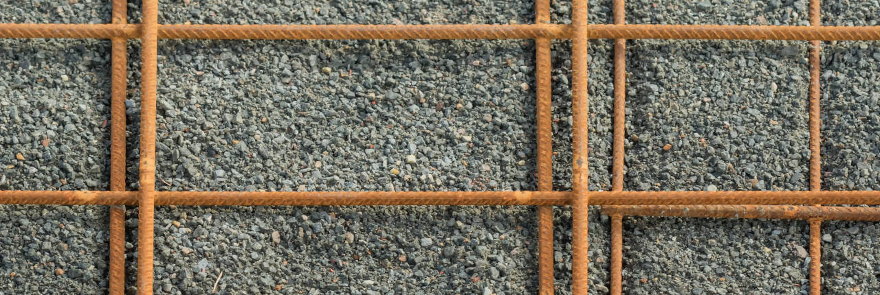 Rebar grid installed for a driveway pour