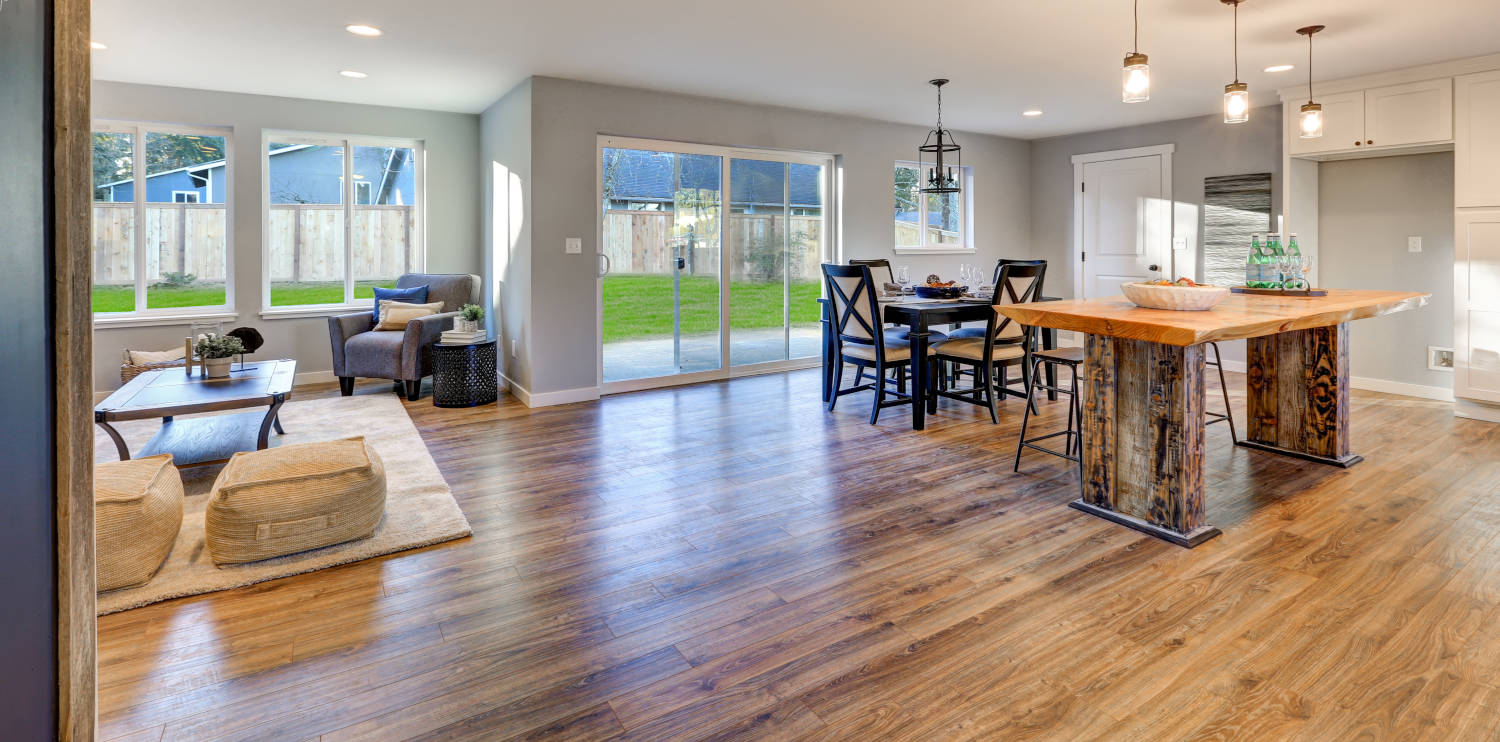 Hardwood floor in kitchen and family room