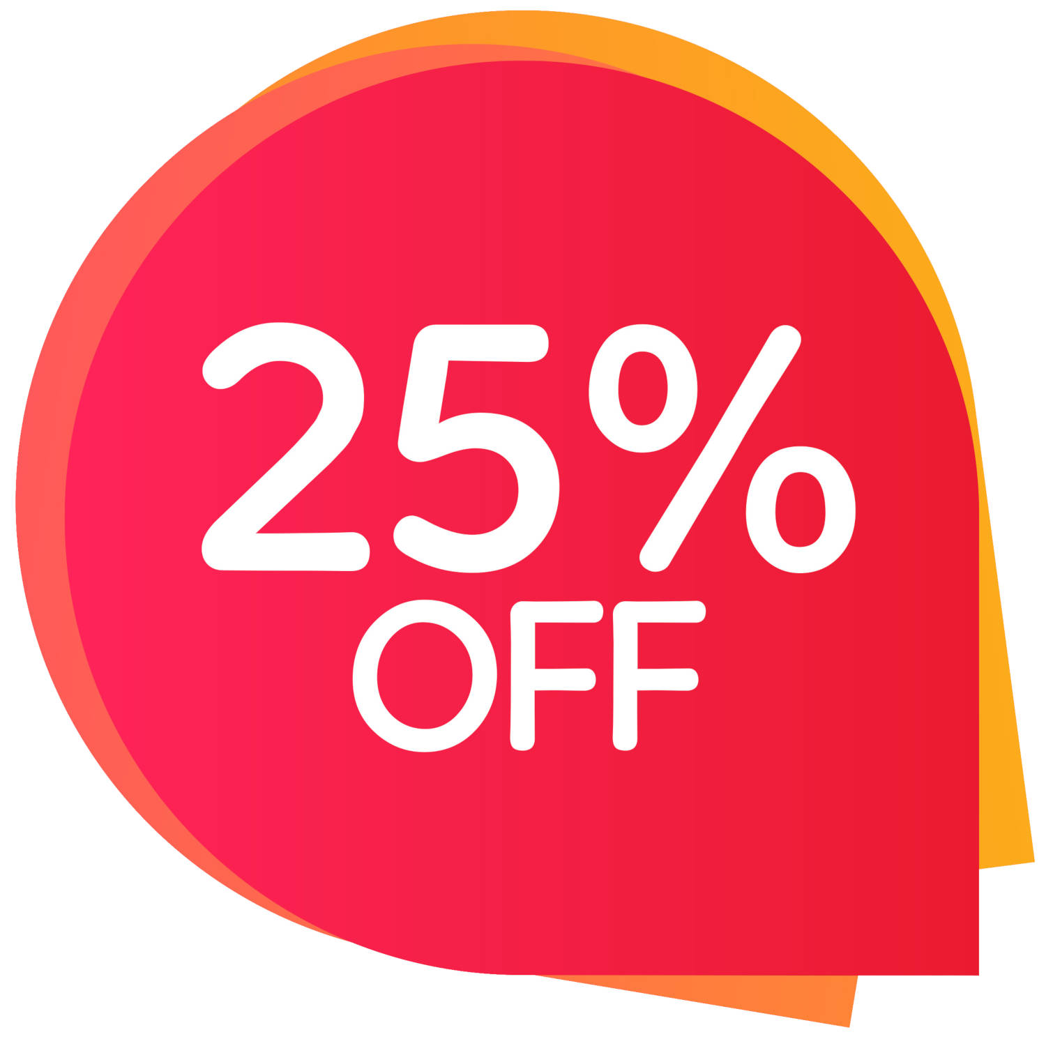 Graphic showing a 25 percent off discount