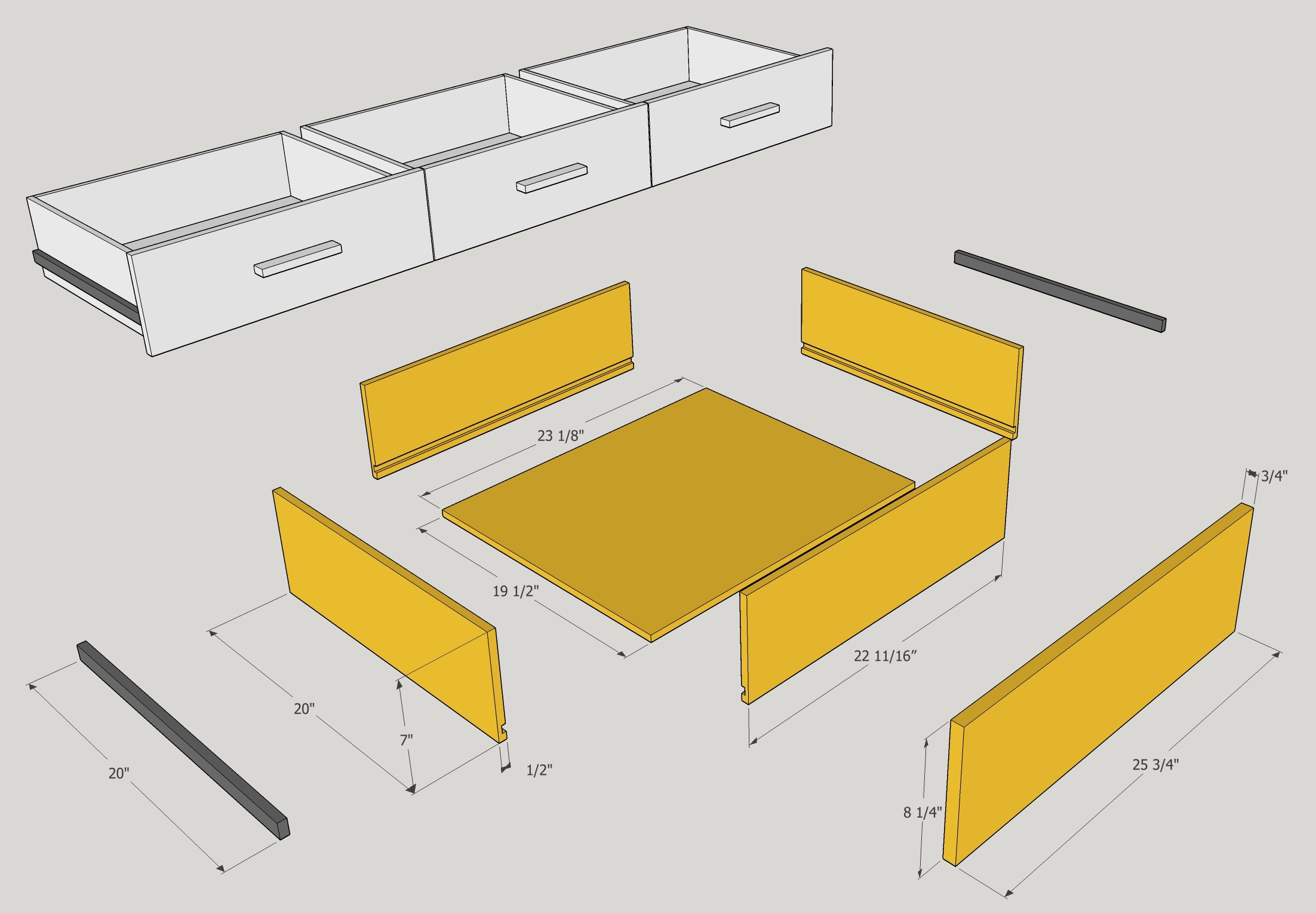 drawer parts and dimensions