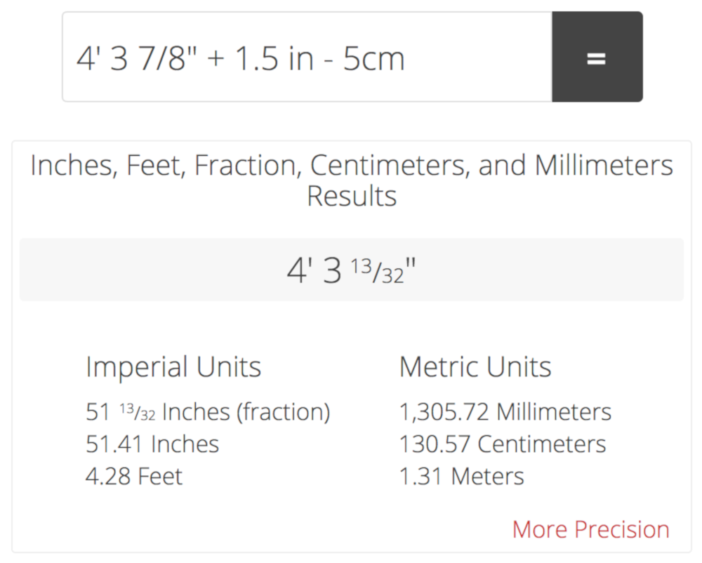 Add and subtract inches, inch fractions, feet, meters, centimeters, and millimeters and get both metric and imperial results.