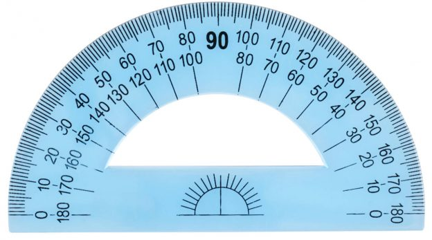 Plastic blue protractor used to find an angle