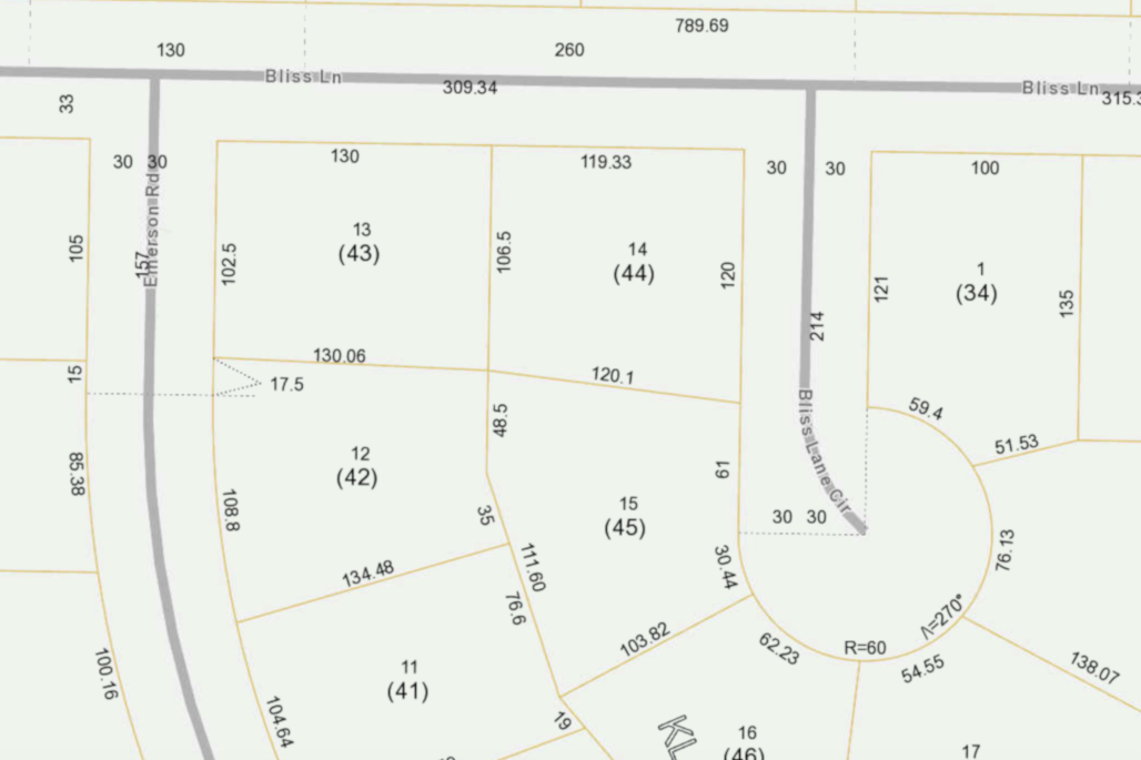 Plat drawing showing the property lines for a neighborhood