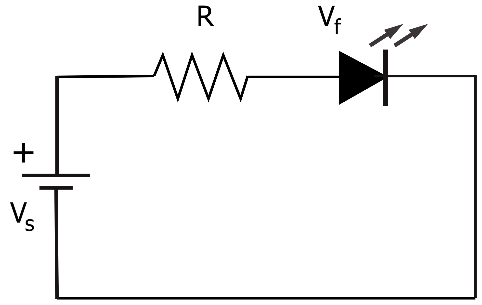 electrical circuit diagram showing an led and resistor