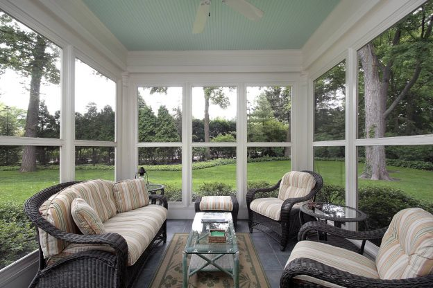 Newly installed screened-in porch