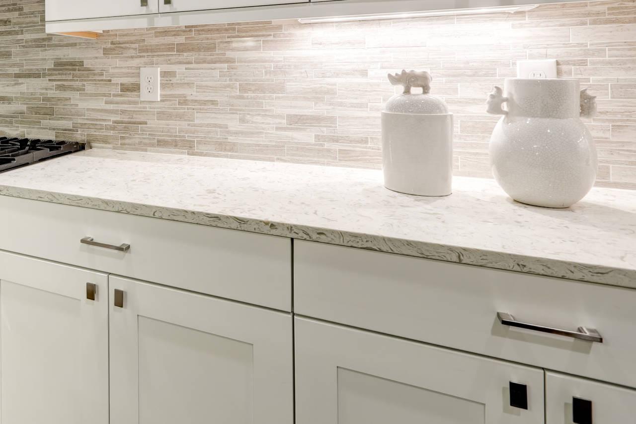 newly installed quartz countertops