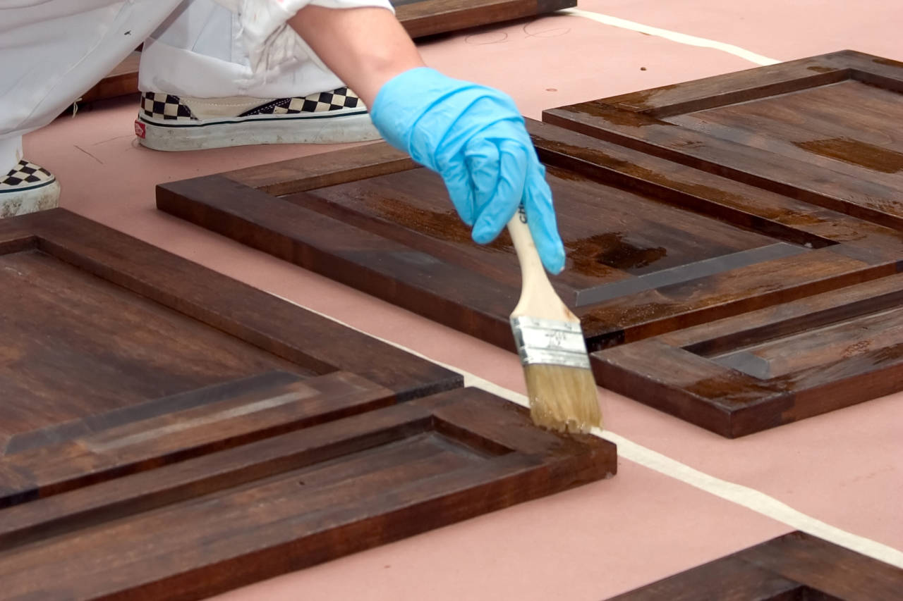 Staining kitchen cabinet doors to update the finish