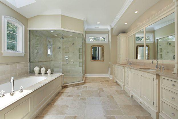 Bathroom tile floor and shower