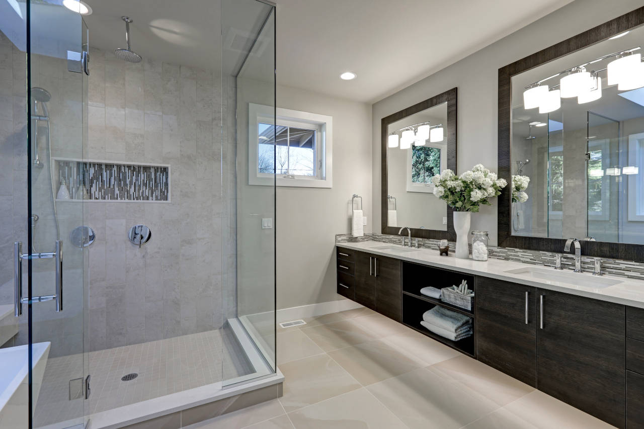 bathroom shower with frameless glass surround