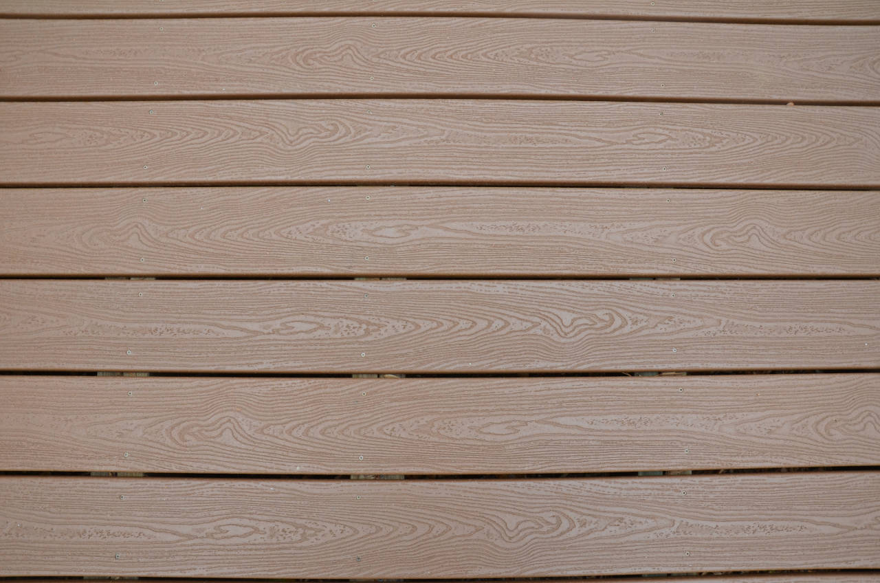 Brown composite deck flooring