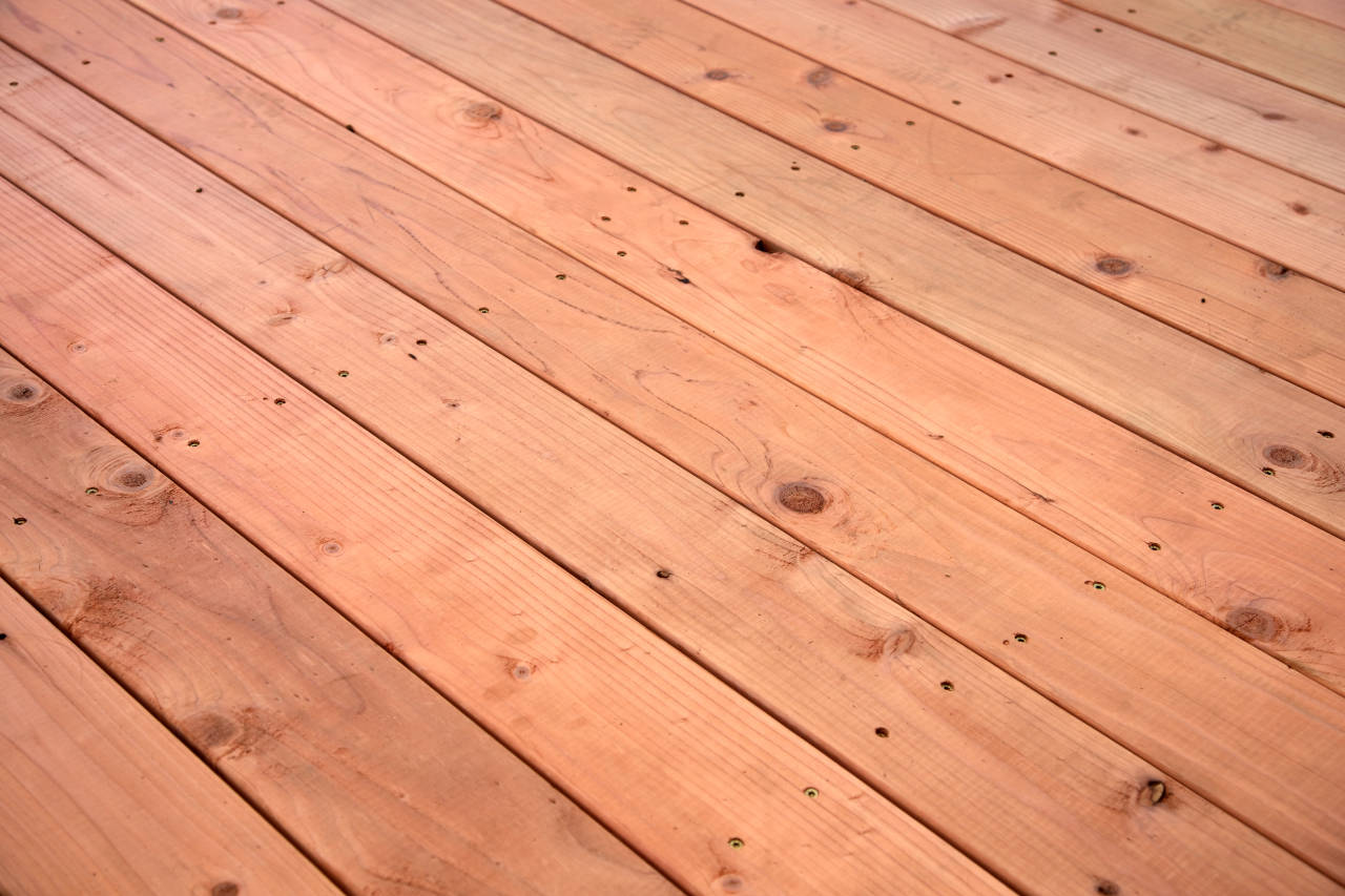 Redwood deck flooring